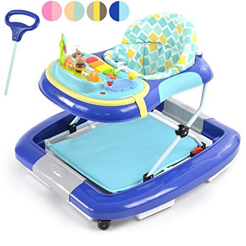 Daliya BEBISTEP 4in1 Spiel- und Lauflernwagen - Babywalker - Babywippe mit Musik- & Spielecenter & Esstisch - Farbe Blau
