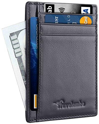 Travelambo Front Pocket Minimalist Leather Slim Wallet RFID Blocking Medium Size(Black Matte)