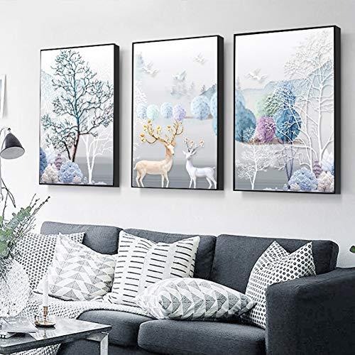 ZFFLYH Wandbilder, Set Von 3 Animal Prints, Wohnzimmer-Dekoration Gemälde Sofa Hintergrund Gemälden Modernes Minimalistisches Restaurant Hang Gemälde (30 * 40CM),Athens White,4