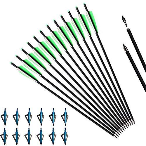 Toparchery 20 Zoll Armbrustbolzen 12 Stück Kohlenstoff Armbrustpfeile für Armbrust Jagdpfeile mit 12er 3-Blatt-Jagdspitzen 125 Grain Jagdpfeilspitzen für Bogenschießen (Blau)