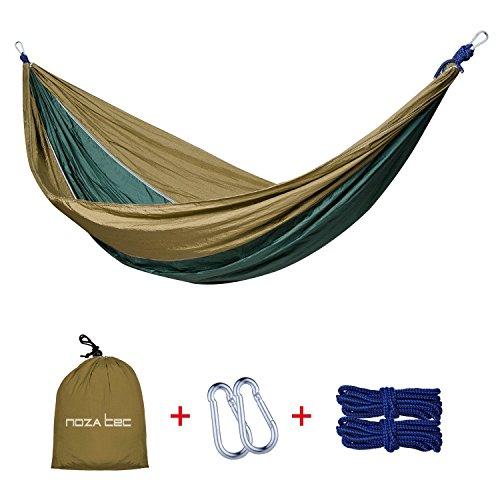 Amaca portatile da viaggio e campeggio per 2persone, in tessuto di nylon da paracadute, ultra leggera, carico massimo di 300kg, con cinghie per appenderla agli alberi incluse, Brown/Olive