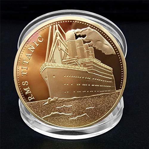 BYFRI 1pc Titánica De La Nave Moneda Conmemorativa Titanic Incidente Recoger BTC Bitcoin Artes Regalos De La Decoración del Hogar