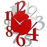 CalleaDesign - Orologio da Parete Russell, Rosso Fuoco