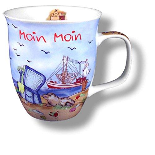 Porzellan- Große Tasse, Kaffeepott, Becher- Moin Moin maritim- deutsches Produktdesign