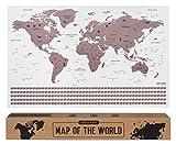 envami Carte du Monde a gratter I 68 X 43 CM I Or Rose I Planisphere Monde I Map Carte Monde I Carte...