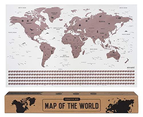 envami Mapa Mundi Rascar I Mapas del Mundo para Marcar Viajes I 68 X 43 CM I Oro Rosas I Scratch Off Travel Map