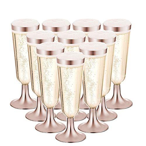 Nuptio 50 Flautas De Champán con Borde De Oro Rosa De Plástico - Copas De Boda Y Fiesta Desechables - Flauta De Champán Trabajo Pesado De Primera Calidad O Vasos Tostados (5 Oz)