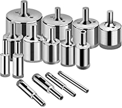 Glass Drill Bits - 15pcs Diamond Drill Bits Hole Saw for Glass, Ceramics, Porcelain, Ceramic Tile, Marble, Granite, 6-50mm Kit Set Hollow Core Extractor Remover Tool