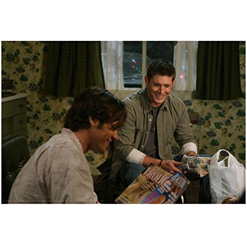 Supernatural Jared Padalecki as Sam Winchester Smiling with Jensen Ackles as Dean Winchester Arms Resting Casually 8 x 10 Inch Photo
