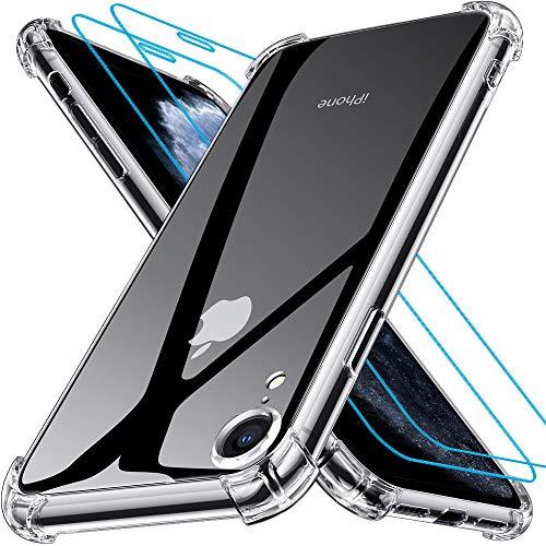 Joyguard Coque iPhone XR [2 × Verre trempé Protection écran], iPhone XR Coque Souple TPU Silicone [Shock-Absorption] AIR Cushion Protection Coin Housse iPhone XR-6.1' - Transparent