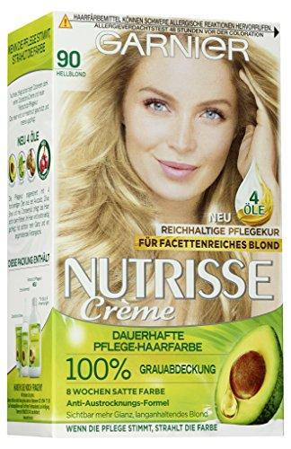 Garnier Nutrisse Creme 90 Hellblond, Dauerhafte Haarfarbe mit Olivenöl und Avocadoöl, Haarfarbe blond (3 Stück)