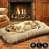 unho Hundebett waschbar - Hundekissen Hundedecke rutschfeste und weiche Decke Tierbett - doppelseitig Schlafplatz Hundesofa - M L XL Hellbraun (L)