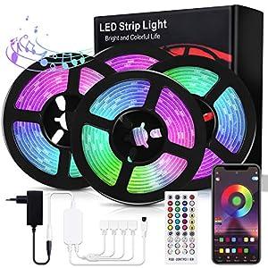 Bewahly Tiras LED 20M, Bluetooth RGB Tiras de Luces LED, Control de APP y Remoto Control, 16 Millones de Colores, Sincronización de Música, Tira de Luz LED para Habitación, Techo, Fiesta y Decoración