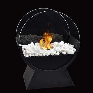 JHY DESIGN 34cm Biochimenea de sobremesa Hoguera Chimenea de mesa rectangular de Bioetanol Portátil para Interiores y Exteriores-fogata portátil para chimenea en color negro, de combustión realista