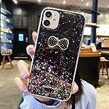 Miagon Brillantini Cover per Xiaomi Redmi Note 10 4G,Carino Bling Glitter Stelle Custodia Case Paraurti in TPU Trasparente per Donna Protettiva,Bowknot Nero