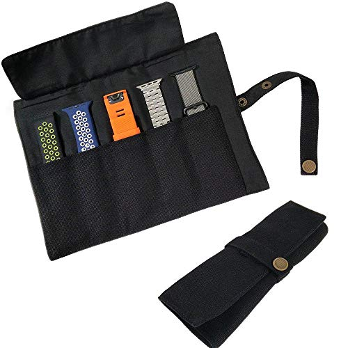 YOOSIDE Uhrenarmband Zubehör, Smartwatch Band Baumwolle Canvas Tragbare Aufbewahrungstasche Tasche Organizer-kompatibel mit Apple Uhrenarmband, Garmin Uhrenarmband, Samsung Uhrenarmband,Schwarz