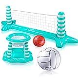 Joyjoz Aufblasbarer Volleyball Pool Basketball Aufblasbare Pool Spielzeug Floating Volleyball Netz für Schwimmbad Basketball Reifen Wassersport Sommerspielzeug für Kinder und Erwachsene