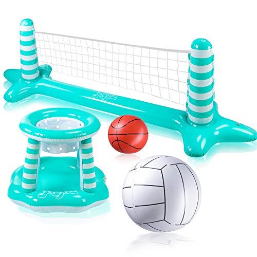 Joyjoz Gonfiabile Piscina Pallacanestro Gonfiabile Giocattolo Galleggiante Floating Pallavolo Rete per Piscina Basket Hoop Sport Acqua Giocattoli di Estate per Bambini e Adulti