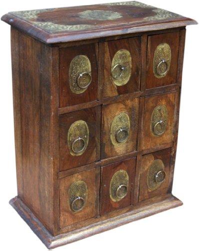 Guru-Shop Schubfachschränkchen, Apothekerschränkchen, Schmuck Schränkchen - Modell 6, Braun, 34x28x16 cm, Dosen, Boxen & Schatullen
