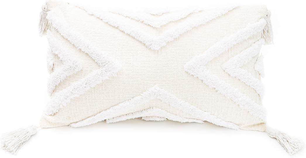 PLWORLD Boho White Lumbar Ranking TOP17 Throw Pillow 12x20 with Inch Cover Free Shipping Cheap Bargain Gift Tas