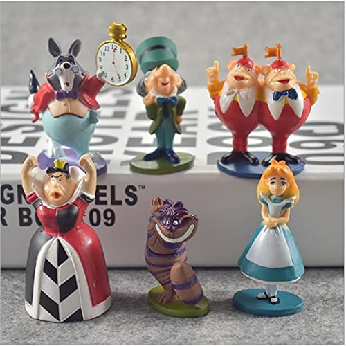 6pcs Alice at Wonderland Playset Action Figures Figurines Kid Toy Cake Topper Decor Collection Model Gift