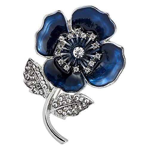 Dightyoho Poppy Brooch Lapel Pin Crystal Enamel Badges Ribbon Flowers Leaf for Legion Remembrance Day Gift 30 * 45mm(03-Poppy Pin Badge Blue)