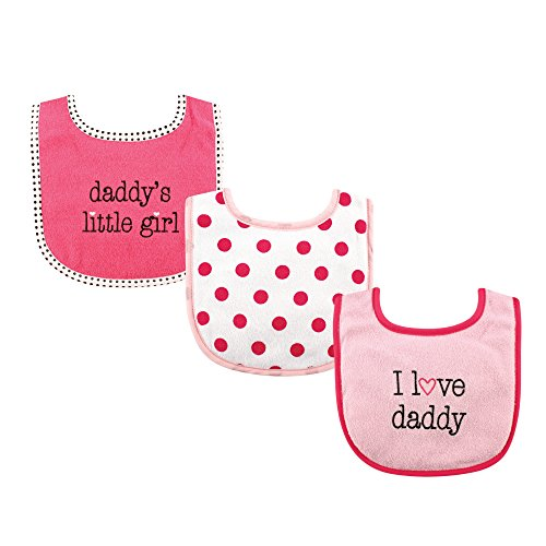 Luvable Friends 3 Piece Drooler Bibs with Fiber Filling for Girls, I love Daddy