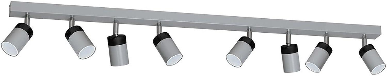 Deckenstrahler Grau Schwarz 8-flammig GU10 25W modernes Design Zylinder Wohnzimmert Deckenleuchte Spot Strahler