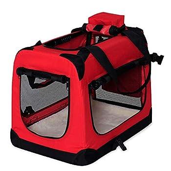 dibea TB10050 Chien Pliable Transport Voiture Box Sacoche pour Petit Animal Rouge