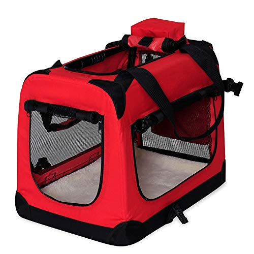 dibea Bolsa de Transporte para perros gatos box caja plegable (XL) 82x58x58 cm Rojo