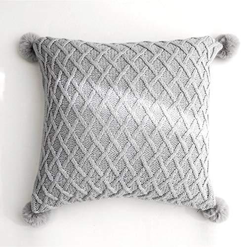 Tylyund Funda de cojín decorativa para cojín nórdico, fresco, simple, geométrico, tejer, lindas bolas, manta para habitación