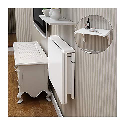 LWZ Mesa de Trabajo Plegable para Montar en la Pared, Mesa de Hojas abatibles, Escritorio Plegable de Madera Maciza Blanca para Colgar en la Pared para Espacios pequeños, Dormitorio, baño o Cocina