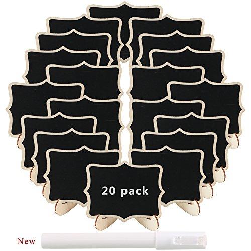 Pulluo 20pcs mini pizarras decorativas de madera con soporte tablero de mensajes signos con base y pluma para boda fiesta cocina Jardín restaurante