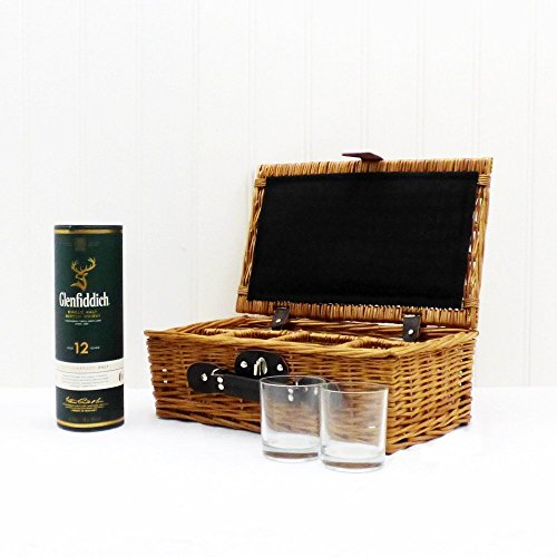 For Dad - 35cl Glenfiddich Whisky with 4 Glasses Presented in a Wicker Hamper