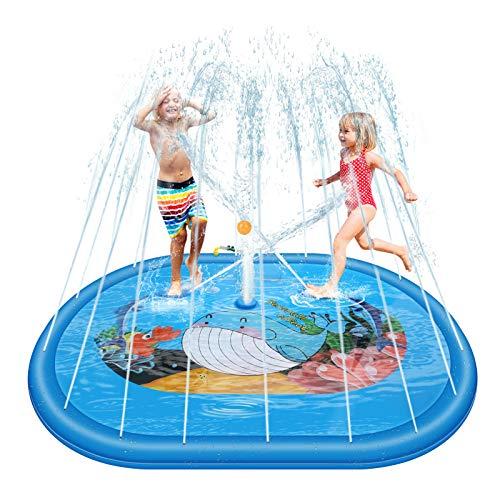 Henreal Splash Pad Almohadilla de aspersión, 190 x 150 cm Jardín de Verano Juguete Acuático para Niños Pulverización, Piscina de Juego de Verano para Niños y Mascotas en Jardín