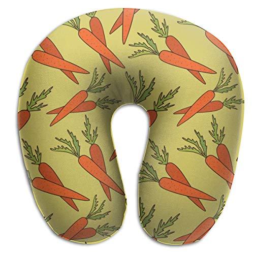 Almohada de viaje en forma de U Vegetales Alimentos Patrón de zanahoria Almohada en forma de U estándar Cómoda almohada de apoyo para la cabeza y el cuello con cojín de espuma viscoelástica Transpira