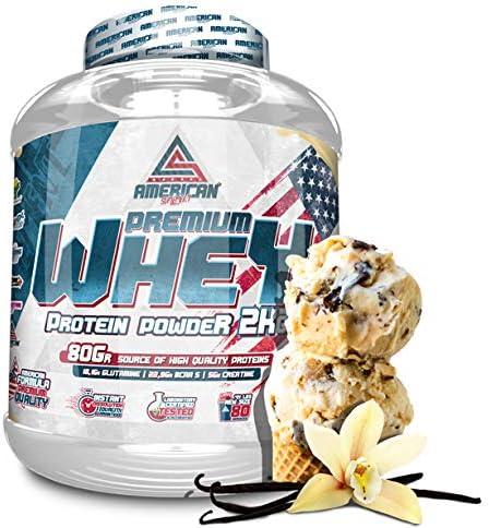 100% Whey Proteína en Polvo, Whey Protein, Suplementos deportivos, American Suplement, Fresa - 2Kg.