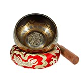 Singing Bowl - Exqline Silent Mind Tibetan Singing Bowl Set 11.5 CM, Great For Mindfulness Meditation, Relaxation, Stress & Anxiety Relief, Yoga, Zen, Perfect Spiritual Gift Red