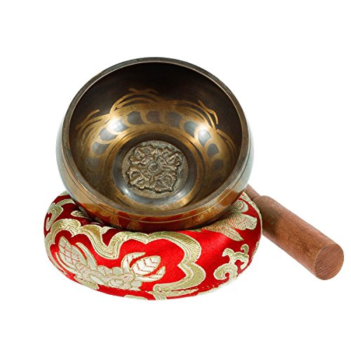 Singing Bowl - Exqline Silent Mind Tibetan Singing Bowl Set 11.5 CM, Great For Mindfulness Meditation, Relaxation, Stress & Anxiety Relief, Yoga, Zen, Perfect Spiritual Gift for Women and Man Red