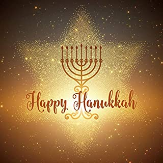 Baocicco 5x5ft Backdrop for Happy Hanukkah Photography Background Golden Menorah David Star Background Shining Stars Jewish Holiday Festival Holy Day Polyester Photo Studio Props