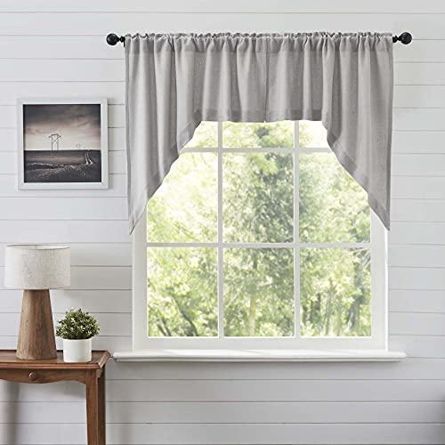VHC Brands Burlap Dove Grey Farmhouse Curtains Swag Set of 2 36x36x16