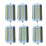 Olaffi R7S LED 118mm 30W R7S J118 LED Sostituire Alogena 300W, Lampadina 118mm LED Slim per Lampada da Soffitto,Lampada Projecteur (6pcs,118mm),Warm White 3000k