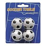Devessport - Futbolín - Paquete de 4 Bolas de 35mm - Fabricadas en plástico - Bolas de futbolín de Repuesto - Color Blanco / Negro - Plástico Compacto, Resistente y sin rugosidades