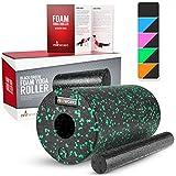 Proworks Faszienrolle aus Schaumstoff inkl. Booklet zur Triggerpunkt Selbstmassage - Massagerolle gegen Muskelschmerzen & Verspannungen - Foam Roller für Yoga & Pilates - Schwarz & Rosa