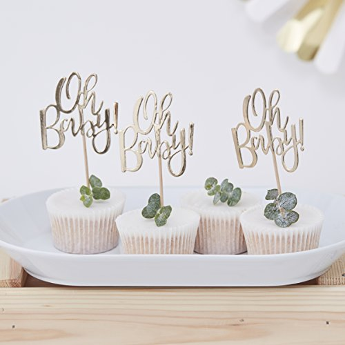 Ginger Ray Gold Foiled Oh Baby Shower 12 Stück