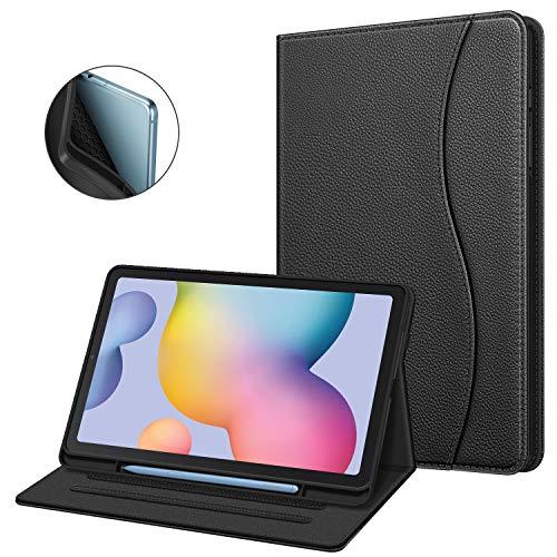 Fintie Hülle für Samsung Galaxy Tab S6 Lite, Soft TPU Rückseite Gehäuse Schutzhülle mit S Pen Halter und Dokumentschlitze für Samsung Tab S6 Lite 10.4 Zoll SM-P610/ P615 2020, Schwarz