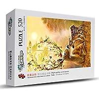 クラシックパズルゲーム 恐竜520木製ジグソーパズル教育玩具ギフト風景画の小品 頑丈で簡単 (Color : C)