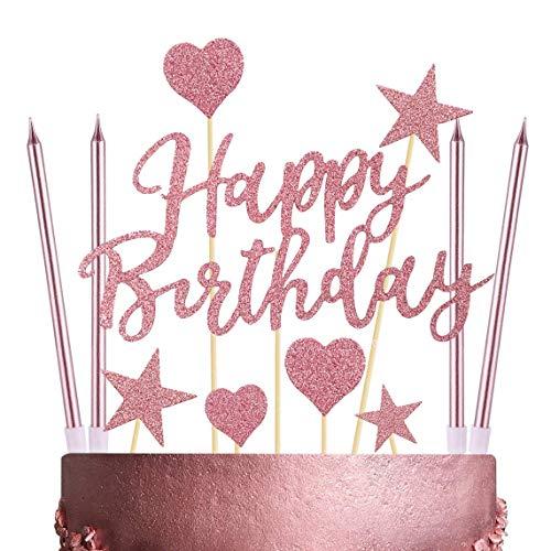 Humairc Kuchendeko Happy Birthday Topper 12pcs lange Geburtstagskerzen Metallisch Kuchenkerzen Sterne Cake Topper Tortendeko Rosegold