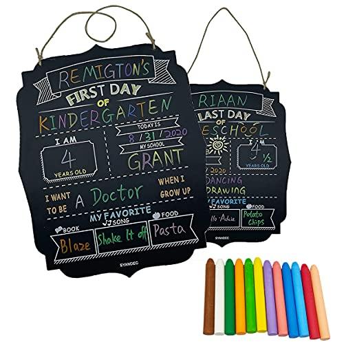 CHENYI Juego de 2 pizarras reutilizables con 12 tizas para el primer día y el último día del colegio, fácil de limpiar, color negro