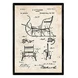 Nacnic Poster con patente de Trineo. Lámina con diseño de patente antigua en tamaño A3 y con fondo vintage